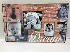 Home Decor Dream holds 4 Photos Picture Frame Collage Rustic blue coral 19x12
