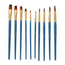 10pcs Assorted Paint Brush Set Nylon Hair for Watercolor Craft Face Painting