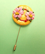 HANDMADE HAND PAINTED PINK FLOWERS ON STRAW HAT PIN Clay Brooch Lapel Flower Pin