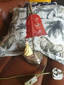 """Handmade belle beauty and the beast table lamp brass red rose shade 12"""" upcycle"""