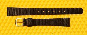 12mm SEIKO Leather Watch Strap Band BLACK Lizard-Grain MADE🇯🇵JAPAN
