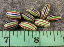 10 Old Hudson's Bay Co Pinched End Watermelon Beads Good Patina Color