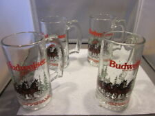 Lot of 4 VTG 1989 Budweiser Clydesdale Limited Edition Christmas 12oz Glass Mug