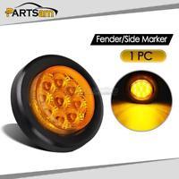 2in. Round Side Marker Trailer light Amber Lens Grommet Mount w Reflector 9LED
