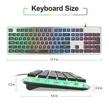 LANGTU Membrane Gaming Keyboard, Colorful LED Backlit Quiet Black/Silver
