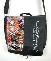 Ed Hardy by Christian Audigier Messenger Shoulder Bag Death Dishonor Purse Skull
