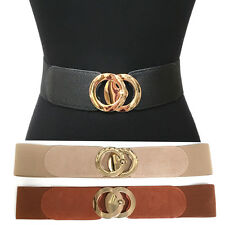 Classy Fashion Elastic Waist Wide Belt Stretch Gold Metal Circle Hook Dress