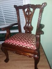"""Vintage Detailed Carved Rose? Wood 20"""" x 11.5"""" Chair For Large Doll -Teddy Bear"""