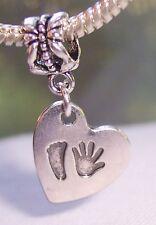 Hand Print Footprint Heart New Baby Gift Dangle Bead for European Charm Bracelet