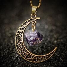 Vintage Moon Necklace Irregular Natural Stone Pendant Necklace Amethyst Rose lia