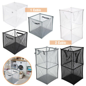 Laundry Mesh Basket Bag Foldable Tidy Storage Bag Net Hamper Bin Collapsible Box
