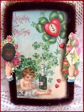 Antique Victorian Postcard Valentine & St Patrick's Day Chenille & Diecut Cards