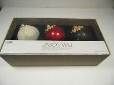 Jason Wu Glass Ornament Set of 3 Christmas Red, White & Black NIB