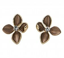 Elegant Brown Enamel Flower Stud Earrings