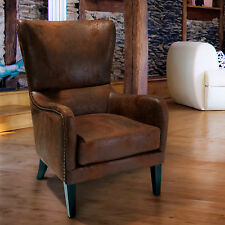 Salerno Brown Fabric High Back Wing  Lounge WingBack  ArmChair