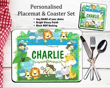 Personalised Table Placemat & Coaster Set Dinner Mat Jungle Animals ANY NAME