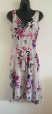 NEW ex DP Billie & Blossom Grey Floral Midi Holiday Summer Dress Size 8-18