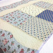 "Shabby Chic Throw Quilt Blanket Blue Cream Pink Patchwork 150x150cm 59""sq."