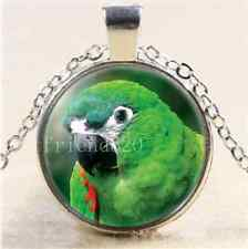 Parrot Bird Photo Cabochon Glass Tibet Silver Chain Pendant Necklace