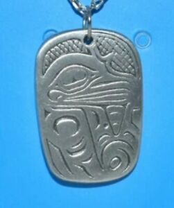 "SALISH - TSIMSHIAN EAGLE NECKLACE - ½"" Pewter Icon - 20"" light chain"