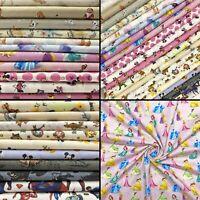 100% Cotton Fabric Disney Themed, A4, Full Metre, Fat Quarter, Half Metre Mickey