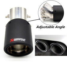 Carbon Fiber Bent & Straight Exhaust Pipe Muffler Tip Cover Matte Black 50-63mm