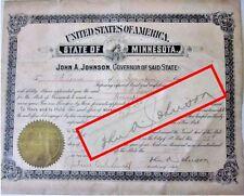SUPER RARE 1909 John A. Johnson Minnesota Governor Hand Signed Certificate Seal