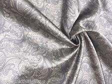 "PAISLEY VISCOSE RAYON GRAY TAUPE 60""W FABRIC SHIRT SKIRT DRESS TABLECLOTH SHEET"