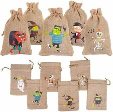 12Pcs Halloween Burlap Bags with Drawstring, Halloween Linen Jewelry Pouches for