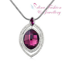 18K White Gold GP Made With Swarovski Crystal Oval Luxury Purple Long Necklace