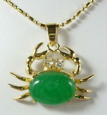Green Jade 18KGP Crystal Crab Women Lady Girl Party Event Pendant Chain Necklace