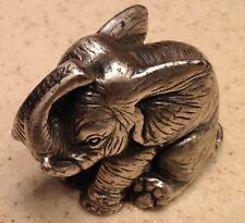 Pewter Peltro Made In Italy Elephant Figurine Statue Trunk Up