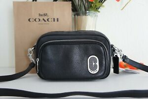 NWT Coach C5050 Court Crossbody Nylon and refined pebble leather Black $298
