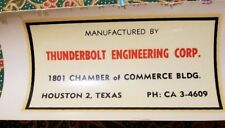 Vintage water decal slide Thunderbolt Engineering Corp Houston TX Decals