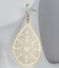 """Gold earrings teardrop dangle shiny VERY lightweight filigree earrings 2.5"""" long"""
