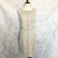 Maggy London Womens NWT Lace Sleeveless Sheath Dress Ivory White Size 4