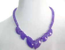Purple Lavender Jade Leaves White Gold Plated Clasp Necklace