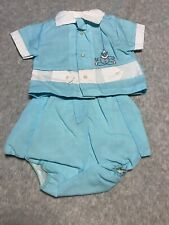 Vintage Baby Clothes Clothing - Solid blue with a clown - NB 3 months