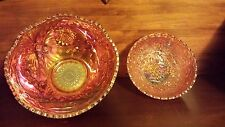 "Two Beautiful Carnival Glass Bowls 10"" & 7"" Scalloped Grape Pattern"