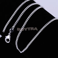 """Light 1pcs Sterling Silver Plated Flat Curb Chain Necklace 16""""-24"""" BL"""