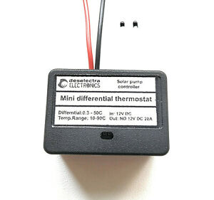 DIFFERENTIAL THERMOSTAT HOME SOLAR HOT WATER HEATING PUMP CONTROLLER 12V 10A BOX