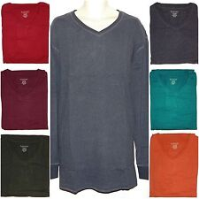 Sonoma Mens Big & Tall Solid Cotton V-Neck Long Sleeve Everyday Tee Top New $40