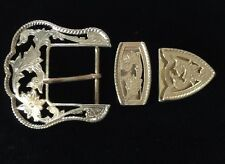 """Western Rodeo Cowboy Filigree 3 Piece Buckle Set For 1 1/2"""" Wide Leather"""