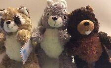 """(3) Sassy Squirrel, Raccoon, Chopper Beaver 8"""" Princess PLUSH bean Free Ship"""