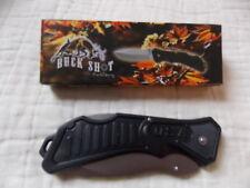 "Buck Shot Tactical 5 1/4"" Folding Lockback Thumb Stud Ss Blade W/Black Handle"