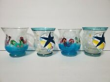 4 Votive Candle Holder Hand Painted Frosted  beach theme Crackle Glass