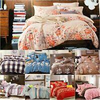 100% Egyptian Cotton Duvet Cover Flat Sheet with 2Pillow cases Full bedding set