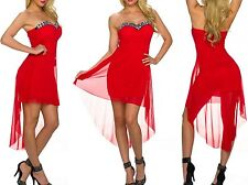 Sexy Miss Femme Vokuhila High Low Robe Mousseline Push Up Pierres XS/S Rouge