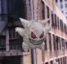 Pure 925 Silver With Gengar Pokemon Cartoon Men Pendants With Multi Color Stones