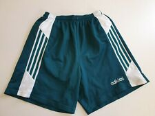 GG787 MENS ADIDAS GREEN WHITE ELASTIC WAIST SPORT SHORTS UK XL W36